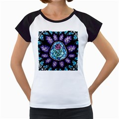 Cathedral Rosette Stained Glass Beauty And The Beast Women s Cap Sleeve T