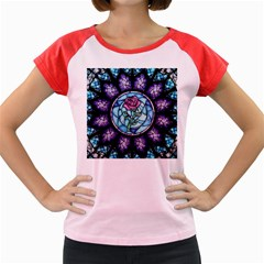 Cathedral Rosette Stained Glass Beauty And The Beast Women s Cap Sleeve T-Shirt