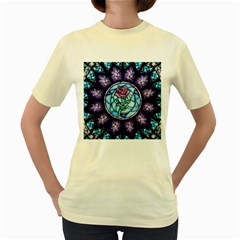 Cathedral Rosette Stained Glass Beauty And The Beast Women s Yellow T-Shirt