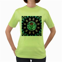 Cathedral Rosette Stained Glass Beauty And The Beast Women s Green T-Shirt