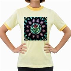 Cathedral Rosette Stained Glass Beauty And The Beast Women s Fitted Ringer T-Shirts
