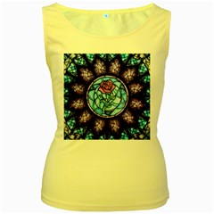 Cathedral Rosette Stained Glass Beauty And The Beast Women s Yellow Tank Top