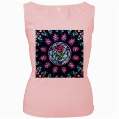 Cathedral Rosette Stained Glass Beauty And The Beast Women s Pink Tank Top