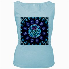 Cathedral Rosette Stained Glass Beauty And The Beast Women s Baby Blue Tank Top