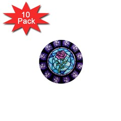 Cathedral Rosette Stained Glass Beauty And The Beast 1  Mini Magnet (10 pack)