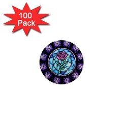 Cathedral Rosette Stained Glass Beauty And The Beast 1  Mini Buttons (100 pack)