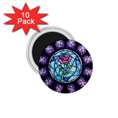 Cathedral Rosette Stained Glass Beauty And The Beast 1.75  Magnets (10 pack)
