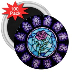 Cathedral Rosette Stained Glass Beauty And The Beast 3  Magnets (100 pack)