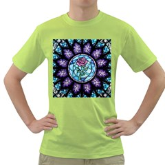 Cathedral Rosette Stained Glass Beauty And The Beast Green T-Shirt