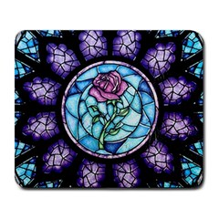 Cathedral Rosette Stained Glass Beauty And The Beast Large Mousepads