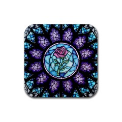 Cathedral Rosette Stained Glass Beauty And The Beast Rubber Square Coaster (4 pack)