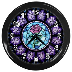 Cathedral Rosette Stained Glass Beauty And The Beast Wall Clocks (Black)