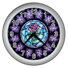 Cathedral Rosette Stained Glass Beauty And The Beast Wall Clocks (Silver)