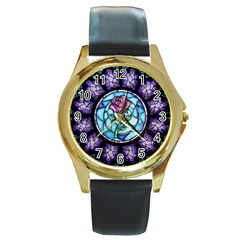 Cathedral Rosette Stained Glass Beauty And The Beast Round Gold Metal Watch