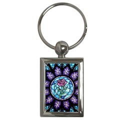 Cathedral Rosette Stained Glass Beauty And The Beast Key Chains (Rectangle)