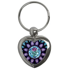 Cathedral Rosette Stained Glass Beauty And The Beast Key Chains (Heart)