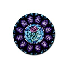 Cathedral Rosette Stained Glass Beauty And The Beast Rubber Round Coaster (4 pack)