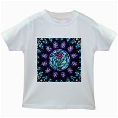 Cathedral Rosette Stained Glass Beauty And The Beast Kids White T-Shirts