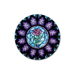 Cathedral Rosette Stained Glass Beauty And The Beast Magnet 3  (Round)