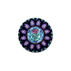 Cathedral Rosette Stained Glass Beauty And The Beast Golf Ball Marker (4 pack)