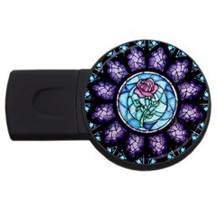 Cathedral Rosette Stained Glass Beauty And The Beast USB Flash Drive Round (1 GB)