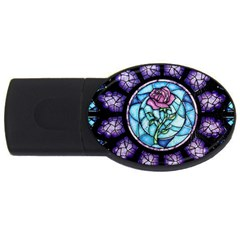 Cathedral Rosette Stained Glass Beauty And The Beast USB Flash Drive Oval (1 GB)
