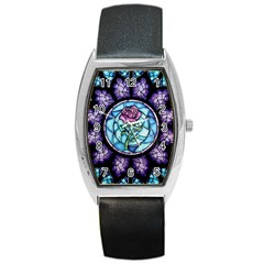 Cathedral Rosette Stained Glass Beauty And The Beast Barrel Style Metal Watch