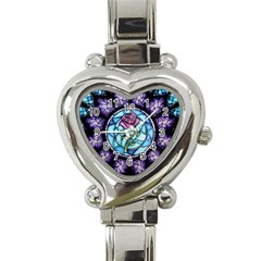Cathedral Rosette Stained Glass Beauty And The Beast Heart Italian Charm Watch