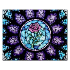 Cathedral Rosette Stained Glass Beauty And The Beast Rectangular Jigsaw Puzzl