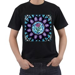 Cathedral Rosette Stained Glass Beauty And The Beast Men s T-Shirt (Black) (Two Sided)