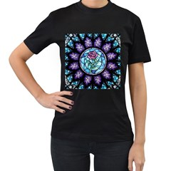 Cathedral Rosette Stained Glass Beauty And The Beast Women s T-Shirt (Black) (Two Sided)