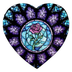 Cathedral Rosette Stained Glass Beauty And The Beast Jigsaw Puzzle (Heart)