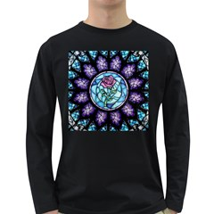 Cathedral Rosette Stained Glass Beauty And The Beast Long Sleeve Dark T-Shirts