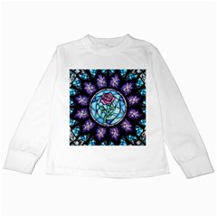 Cathedral Rosette Stained Glass Beauty And The Beast Kids Long Sleeve T-Shirts