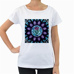 Cathedral Rosette Stained Glass Beauty And The Beast Women s Loose-Fit T-Shirt (White)