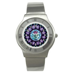 Cathedral Rosette Stained Glass Beauty And The Beast Stainless Steel Watch