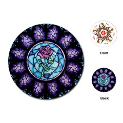 Cathedral Rosette Stained Glass Beauty And The Beast Playing Cards (Round)