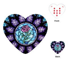 Cathedral Rosette Stained Glass Beauty And The Beast Playing Cards (Heart)
