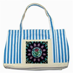Cathedral Rosette Stained Glass Beauty And The Beast Striped Blue Tote Bag