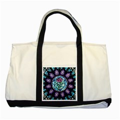 Cathedral Rosette Stained Glass Beauty And The Beast Two Tone Tote Bag