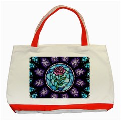 Cathedral Rosette Stained Glass Beauty And The Beast Classic Tote Bag (Red)