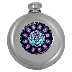 Cathedral Rosette Stained Glass Beauty And The Beast Round Hip Flask (5 oz)