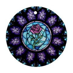 Cathedral Rosette Stained Glass Beauty And The Beast Round Ornament (Two Sides)