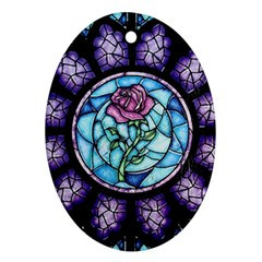 Cathedral Rosette Stained Glass Beauty And The Beast Oval Ornament (Two Sides)