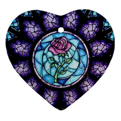Cathedral Rosette Stained Glass Beauty And The Beast Heart Ornament (2 Sides)