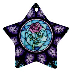 Cathedral Rosette Stained Glass Beauty And The Beast Star Ornament (Two Sides)