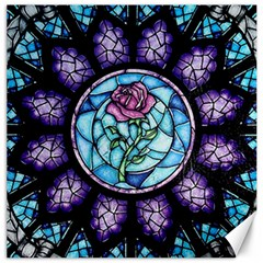 Cathedral Rosette Stained Glass Beauty And The Beast Canvas 16  x 16