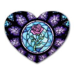 Cathedral Rosette Stained Glass Beauty And The Beast Heart Mousepads