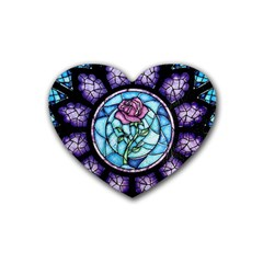 Cathedral Rosette Stained Glass Beauty And The Beast Rubber Coaster (Heart)