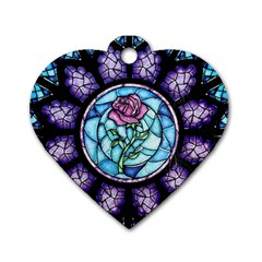Cathedral Rosette Stained Glass Beauty And The Beast Dog Tag Heart (One Side)